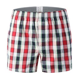 59d48d795a04f9 Oversize Mens Underwear Boxer Shorts Casual Cotton Red Underpants Marche di  alta qualità Plaid allentato Comode mutandine per la casa mutande rosse mens  in ...