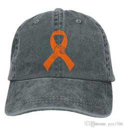 2019 laranjas cancro Pzx @ Boné de Beisebol para Homens e Mulheres, Laranja Câncer Fita Womens Algodão Ajustável Jeans Cap Chapéu Multi-cor opcional laranjas cancro barato