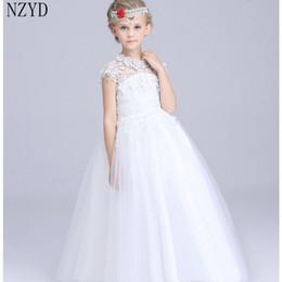 Yeni Moda İlkbahar Yaz Sonbahar Kız Elbise Çocuk Dantel Beyaz Gelinlik Resmi Elbise Kore Zarif Çocuk Giysileri DC162 nereden resmi elbise korece kızlar tedarikçiler