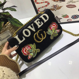 Wholesale Embroidered Pearls - women chain shoulder bags luxury brand embroidered velvet bag Marmont crossbody bag loved pearl handbags famous designer purse high quality