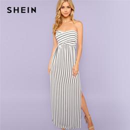 08bc3e23b8a SHEIN noir et blanc sans bretelles croisé fente côté rayé robe maxi taille  haute 2018 été décontracté sortant robes femmes blanc maxi robe fentes    vendre
