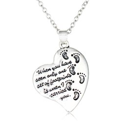 Wholesale baby foot charms - Silver Color Heart Shaped Footprints Design Pendant Necklace Baby Child Feet Pattern Family Jewelry Heart Charm Jewelry for Women