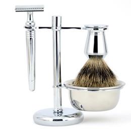 Wholesale Best Shave - ZY Luxury Men Shaving Set Pure Badger Hair Beard Brush Double Edge Safety Blade Razor Stand Holder Shave Soap Bowl Best Gift