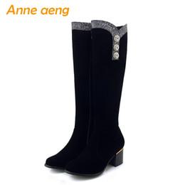 Botte de neige grande taille sexy en Ligne-2019 nouvelle automne hiver femmes bottes genou haut zip carré talon moyen dames bottes de neige sexy femmes noires chaussures grande taille 33-43