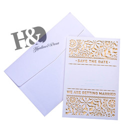 Wholesale Bridal Shower Cards - H&D 10pcs Laser Cut Flower Invitation Cards, Lace Invitation Kit for Wedding Anniversary Bridal Shower Birthday With Envelope