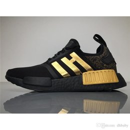 Wholesale Womens Cotton Tops Wholesale - 2017Versace X NMD Running Shoes Originals NMDs BA7250 Outdoor Sneakers Black Gold Top Real Boost Sneakers Womens