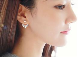 Wholesale Leaf Cuff Earrings - Lady Clear Crystal Leaf Feather Ear Jacket Earrings Back Ear Cuffs Stud Earrings for Women