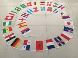 Wholesale Flags Cup - 2018 Russia World Cup hanging flags 8# 14*21cm small world national flags string 32 counties flag for festival party decoration flag