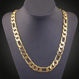 Wholesale Italy Gold Necklace - 18K gold-plated Men's Chain Necklace Italy Figaro Chunky Heavy Rock Hip Hop Chain Necklace 23.5 Inch Quality Warranty