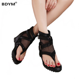 Wholesale punk high heels - Summer platform sandals Ankle shoes punk Chain rivets gladiator sandals women flip flops womens shoes heels and wedges sandal