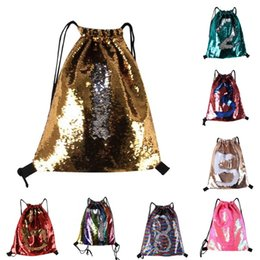 Wholesale Travel Backpack Cooler - 8 colors cool Mermaid Sequin Backpack Sequins Drawstring Bags Outdoor Sports Backpack Glitter Sports Shoulder Bags Travel Bag