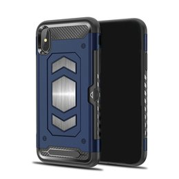 Wholesale Carbon Fiber Vehicle - Vehicle Magnetic phone case For Samsung S9 S9 plus Iphone X Side inserting card Valorous Carbon fiber TPU PC Back cover New design