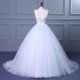 Wholesale Colored Plus Wedding Dresses - Elegant Colored Tulle Princess Ball Gown Wedding Dress Sparkly Bling Crystal Sweetheart Bridal Gown Sweep Train Custom Made Vestido De Novia