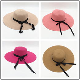 7b3f2359d8a Ladybro 2018 Summer Women Boater Beach Hat Female Casual Panama Hat Lady  Brand Classic Bowknot Straw Flat Sun Hat Women Fedora
