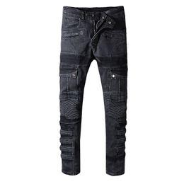 Jeans solides en Ligne-Jeans Designer Denim Jeans Hommes Denim Pants Denim Pants Mode Casual Solide Denim Designer Jeans Droite