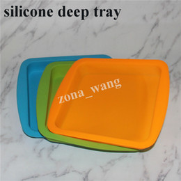 "Wholesale Tray Container - 8*8inch Deep Dish square Pan 8.5"" friendly Non Stick Silicone Containers Concentrate Oil BHO silicone trays silicone deep trays water pipe"