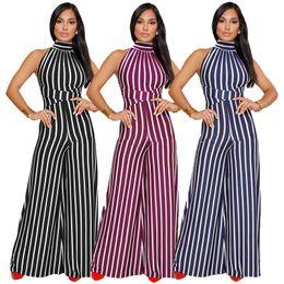 Wholesale Women Clubwear Bodysuits - Women bandage Jumpsuits & Rompers Fashion stripes halter bodysuits Ladies Summer Clubwear bodycon Playsuit Sexy Backless Wide leg trousers