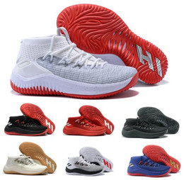 Wholesale Fabric Dye Shoes - Cheap Basketball Shoes Sneakers D Lillard 4 Dame 4s Rip City Grey Un-Dyed Signature Men Man Authentic Sports China Brand Tennis Trainers Sho