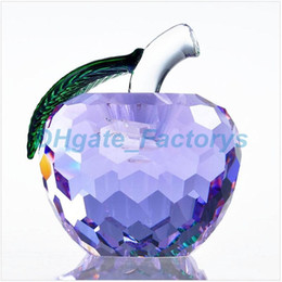 Wholesale Crystal Figurines Wholesale - 40mm Cut Crystal Apple Paperweight Glass Quartz Crafts Home Decor Fengshui Ornaments Figurine&Miniature Souvenir Gifts