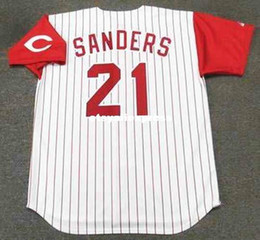 Wholesale Majestic Throwback Jerseys - Wholesale Custom DEION SANDERS Cincinnati Stitched 1997 Majestic Throwback Home Baseball Jersey Retro Mens Jerseys