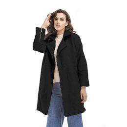 Casaco de cashmere longo casaco de mangas compridas 2018 outono e inverno novo europeu e americano de grande porte de roupas femininas de