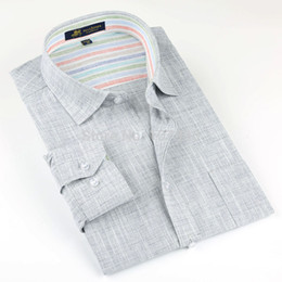 Wholesale Flax S - Brand high quality Linen Men's Shirts Long Sleeve Male Casual Business Shirts Flax dress shirt for man