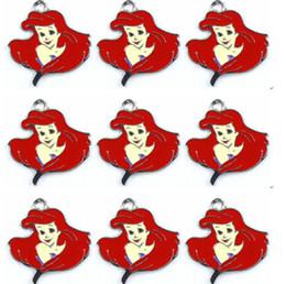 En gros 50 pcs Rouge Princesse Ariel Tête Charmes Pendentifs Fabrication de Bijoux DIY Party Favor Cadeaux ? partir de fabricateur