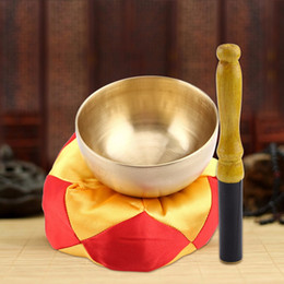 Wholesale Music Bowl - tibetan bowls singing bowls 1 Set Buddhism Singing Bowl+Cushion+Wood Stick Tibetan Buddhism Meditation Brass Vintage Home Decor Art Craft