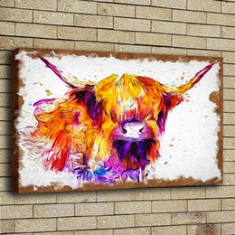 Wholesale paint sprays - HD Print Poster Oil Painting Wall Art Painting Highland Cow Watercolor Wildlife Animal Picture on Canvas Illustration Home Decor