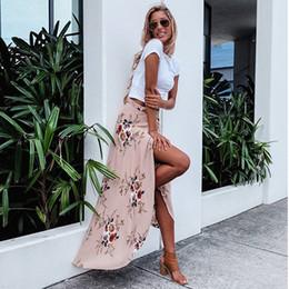 2019 motifs de jupe évasée Womens Midi Jupe blanc Imprimer Floral Volants Boho Asymétrique Haute Taille Jupe Plissée Volants Mode Split Jupe D'été