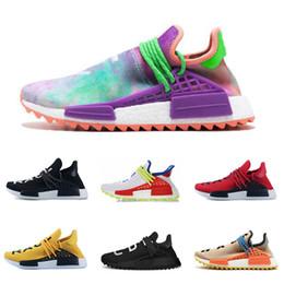 innovative design 0de02 bc9f3 Descuento de fábrica de la raza humana zapatos para correr rojo Chalk Coral  lienzo en blanco Pharrell Williams para hombre entrenador zapatillas  deportivas ...
