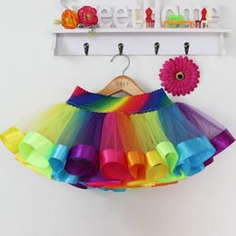 Wholesale Girls Silk Shirt - Tutu Dress Girl Skirts Baby Kids Children Tutu Skirt Short Rainbow Skirt Princess Tulle Skirts Party Ribbon Skirt Girls Dance Pettiskirt