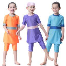 3476b8994f Three Suit-three Muslim swimwear Islamic swimsuit children sl clothes for  children for girls Modesty Style Muslim Swim Clothing Malaysian