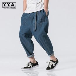 Wholesale Drop Crotch Jeans - 2018 New Men Hip Hop Baggy Harem Pants Drop Crotch Denim Trousers Male Ladies Jeans Belted Loose Large Size 5XL Cowboy Pantalon