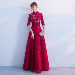 13cb2de2b01 Lace Qipao Long Bride Wedding Evening Dress Modern Chinese Traditional  Vestido Oriental Dresses Red Embroidery Cheongsam Vintage