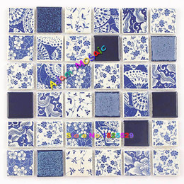 Wholesale porcelain tile wall - Blue White Ceramic Tile Kitchen Backsplash Mosaic Wall Tiles Bathroom Porcelain Swimming Pool Building Materials