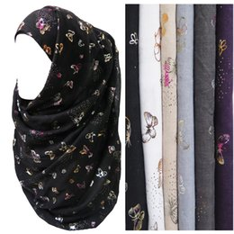 Wholesale Muslim Headbands - Fashion Versatile Metallic Colorful Butterfly Pattern Muslim Hijab Scarf Basic Long Wide Shawl Head Wrap Large Size