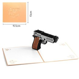 Wholesale Toy Guns Paper - 3D Pop up Card Greeting Cards Postcards Graduation Party Invitation Paper Laser Cutting Vintage Handmade Kirigami Gun