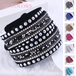 sparkle wraps Coupons - Rhinestones Multilayer Wrap Bracelets Slake Flocking Leather Charm Bangles With Sparkling Crystal Women Sandy Beach Fine Jewelry Gift