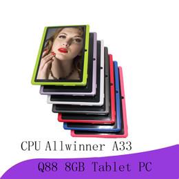 2019 дешевые китайские таблетки, вызывающие wifi 2018new таблетки wifi 7 дюймов 512 МБ оперативной памяти 8 ГБ ROM Allwinner A33 четырехъядерный Android 4.4 емкостный планшетный ПК двойная камера Q88 A-7PB