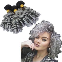 2019 rizado cabello gris Dark Roots 1B Grey Rizado de cabello rizado extensión 10-30 pulgadas Ombre Astilla gris Funmi rizado cabello sin procesar 3 paquetes rizado cabello gris baratos