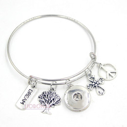 Wholesale Charm Bracelet Peace - Wholesale Fashion Snap Jewelry Tree of Life Cross Peace Sign Dream Inspired Wire Adjustable Expandable Snap Bangles Bracelets Jewelry