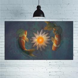 2019 pintura de peixes sala de estar 1 Pcs Peixes Louts Arte Da Lona Pintura A Óleo Cartaz E Imagem Da Arte Da Parede Para Sala de estar Decoração de Casa Sem Moldura desconto pintura de peixes sala de estar