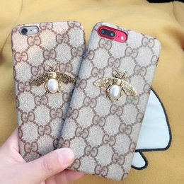Wholesale Iphone Cases Pearls - Case for iPhoneX 8 7 8plus Luxury Printed Pearl Bees Phone Case shell for Apple iPhone6 6plus