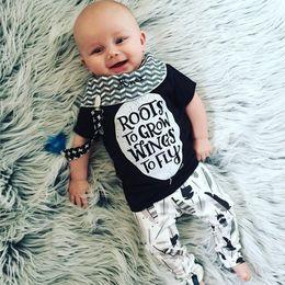 Wholesale Infant Boys Shirts - 2018 Newborn baby boys girls rompers bodysuits black short t-shirt letter decoration infant one-pieces sets via epacket free shipping