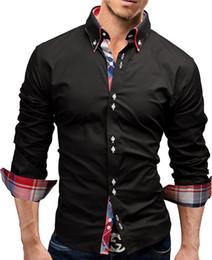 Camicie a doppio petto online-Marca 2017 Moda maschile Camicia a maniche lunghe Top doppio colletto camicia da uomo Camicie uomo Slim Men 3XL