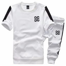 Sudaderas grises casuales online-Hombres Active Suit Sudaderas Ropa de marca Trajes de verano Chándal corto Béisbol Sweat Suit Grey Homme M-5XL