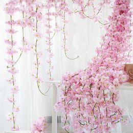 Wholesale Cherry Display - 200cm Sakura Cherry Rattan Wedding Arch decoration Vine Artificial flowers Home party decor Silk Ivy wall Hanging Garland Wreath