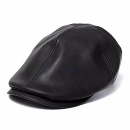 Mens Ivy Cap Faux Leather Bunnet Newsboy Beret Cabbie Gatsby Flat Golf Hat  mens berets hats on sale b11acfd22020