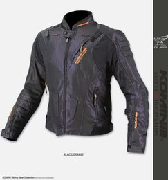 Wholesale race leather jacket - KOMINE JK-088 The titanium genuine leather with mesh racing jackets motorcycle clothing Super Cool!